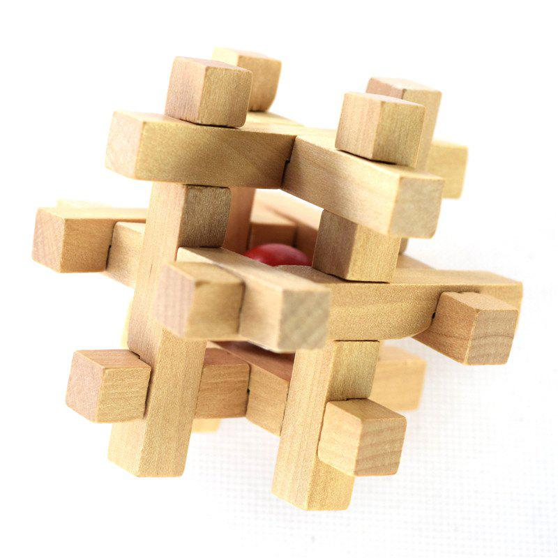 Wooden Take the Ball from Cage Lock Logic Puzzle Burr Puzzles Brain Teaser 8 triangle wooden block brain teaser puzzle toy brown