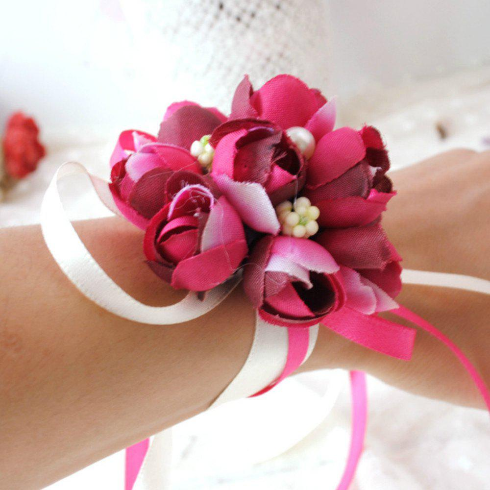Wrist  Family Silk Hand Decorative Flower - ROSE RED