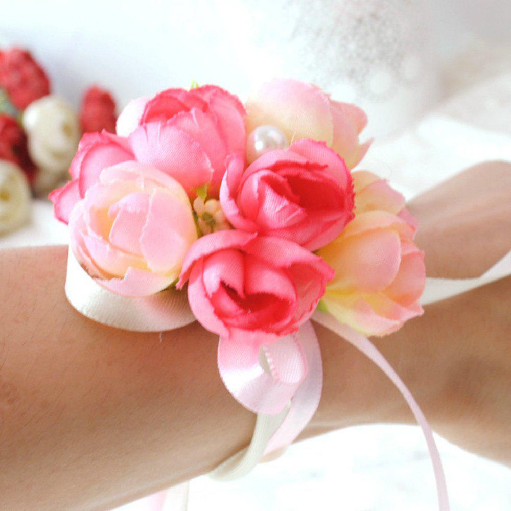 Wrist  Family Silk Hand Decorative Flower - PINK
