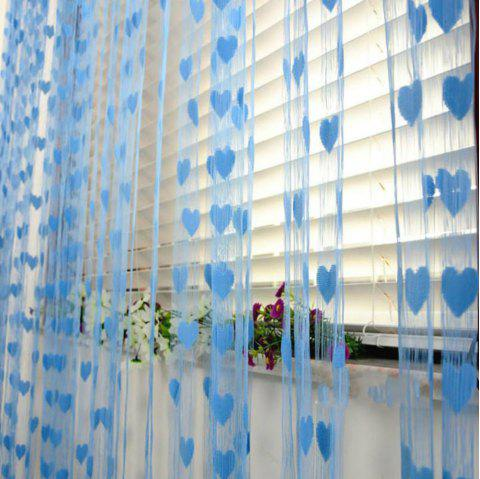 Romantic Love Heart Line Tassel Door Curtain - DEEP SKY BLUE