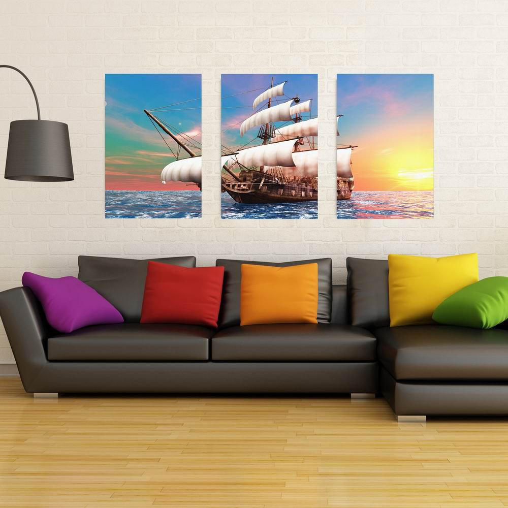 W203 Sailboat Unframed Art Wall Canvas Prints for Home Decorations 3 PCS family wall quote removable wall stickers home decal art mural