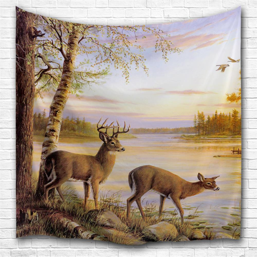 Sunset Elk 3D Printing Home Wall Hanging Tapestry for Decoration space shark 3d printing home wall hanging tapestry for decoration