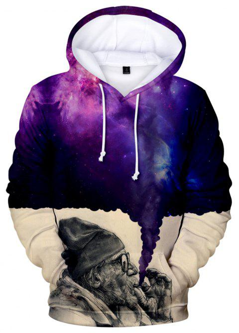 2018 New The Old Man Smoking Space 3D Hoodie - multicolor A L