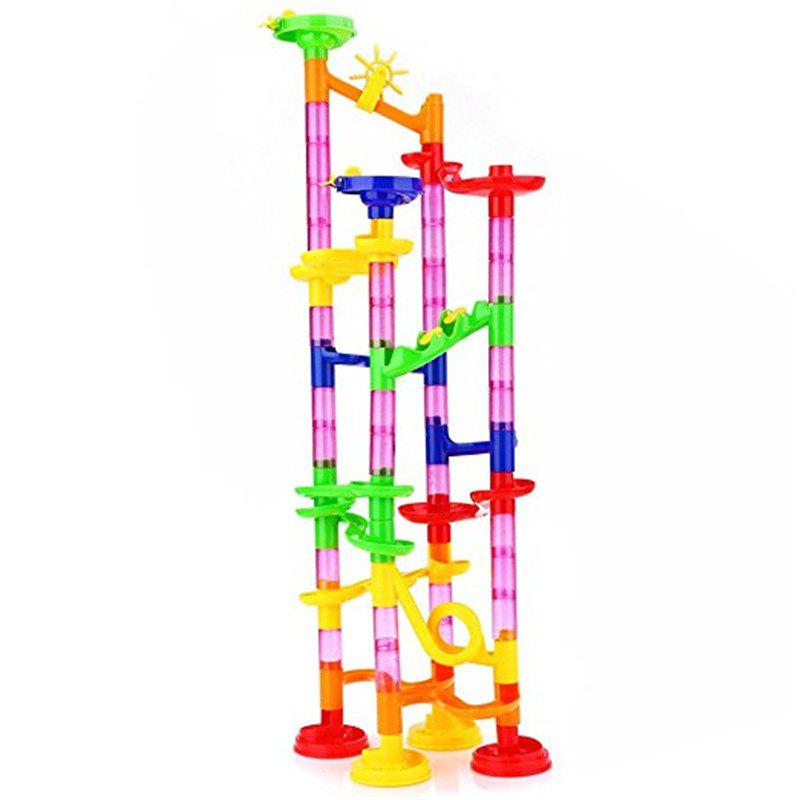 Marble Run Maze Race DIY Building Construction Track Balls Blocks Toy 105PCS 40pcs railway track overpass blocks wooden structures urban railway track kids baby education traffic blocks toy