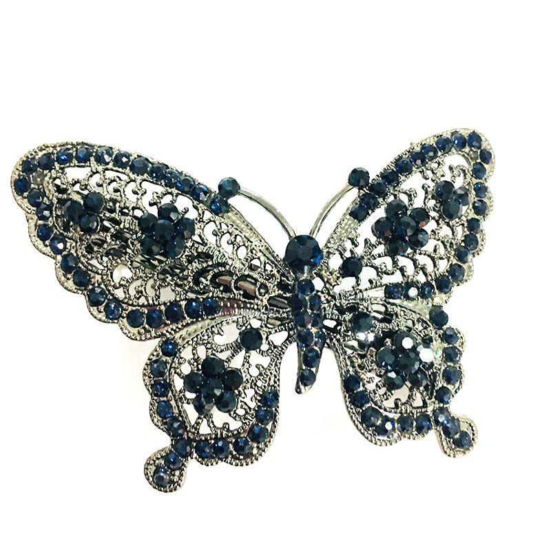 New Fashion Hair Accessories Butterfly Hollow Diamond Hairclip - BLUE