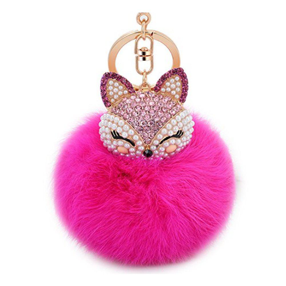 Cute Fox Bobbles Fur Ball Rhinestone Keychain Bag Car Ring Keyring - ROSE RED