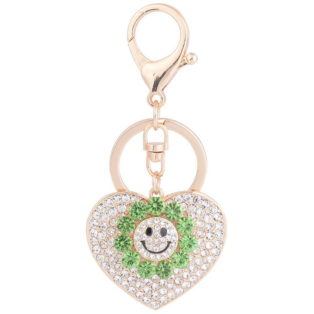 Sun Heart Keychain Rhinestone Key Ring Women Bag Accessories With Smile Face Key 200 pcs pack cpr resuscitator keychain mask key ring emergency rescue face shield first aid cpr mask with one way valve