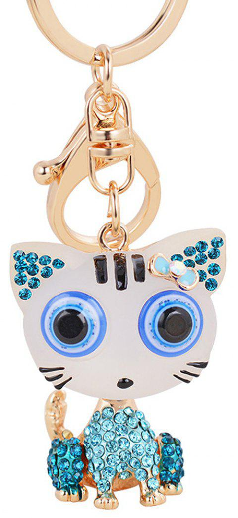 Cat Keychain for Women Cute Animal keychains Resin Crystal Pendant Key Ring Hold - COBALT BLUE