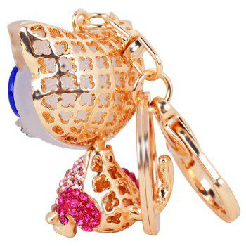 Cat Keychain for Women Cute Animal keychains Resin Crystal Pendant Key Ring Hold - PINK