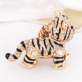 Car Key Rhinestone Exquisite Animal Little Tiger Keychain Charm Bag - NATURAL BLACK