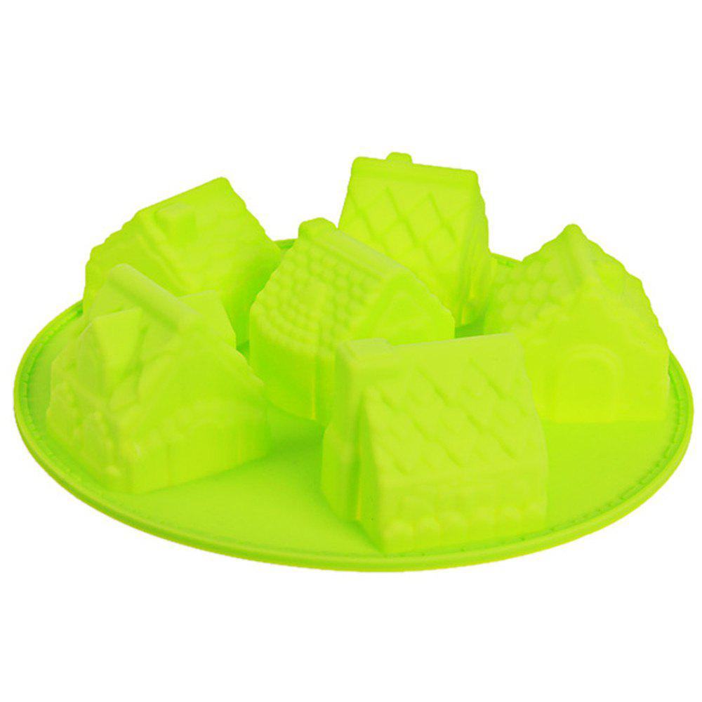 6 Small House Silicone Cake Mold 6 sunflower style silicone diy mold for cake and more green
