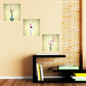Simulation Vase 3D Wall Paste Living Room Sofa Triple Stickers Painting BG-001 - multicolor A