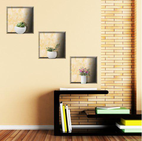 Simulation Vase 3D Wall Paste Living Room Sofa Triple Stickers Painting BG-002 - multicolor A