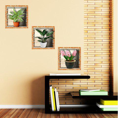 Simulation Vase 3D Wall Paste Living Room Sofa Triple Stickers Painting BG-003 - multicolor A