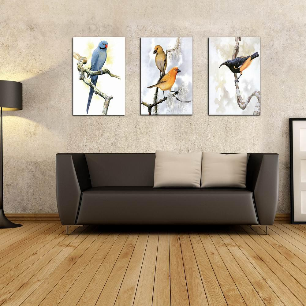 Фото W213 Birds Frameless Art Wall Canvas Prints for Home Decorations 3 PCS family wall quote removable wall stickers home decal art mural