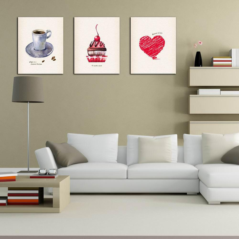 W215 Coffee and Cake Unframed Art Wall Canvas Prints for Home Decorations 3 PCS family wall quote removable wall stickers home decal art mural