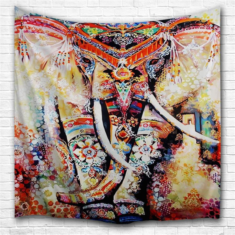 Painted Elephant 3D Printing Home Wall Hanging Tapestry for Decoration space shark 3d printing home wall hanging tapestry for decoration