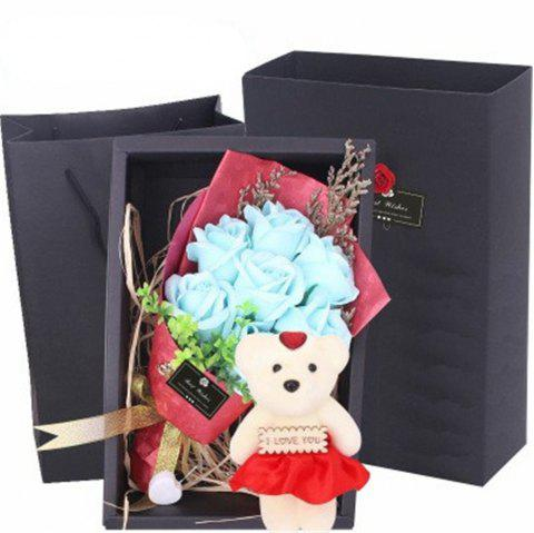 Scented Unique Bouquet Rose Flower Gift Box Mother's Day - TRON BLUE
