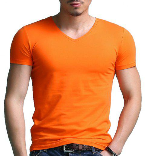 T-shirt à manches courtes à col en V de Solid Color Sports - Orange 3XL