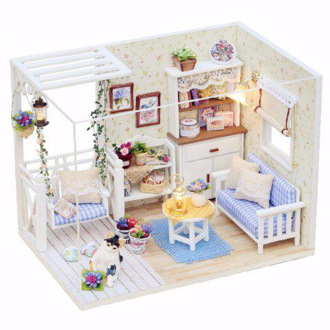 1/24 Dollhouse Miniature DIY Kit with LED Light Cover Wood Toy Doll House Room - multicolor A