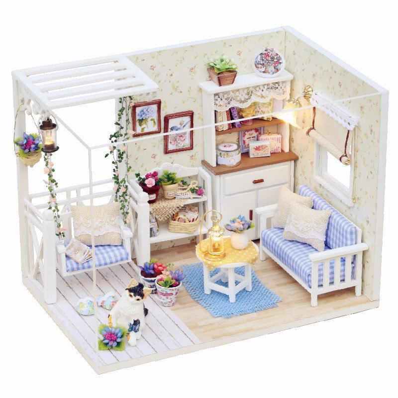 1/24 Dollhouse Miniature DIY Kit with LED Light Cover Wood Toy Doll House Room doll house furniture diy building model wooden miniature dollhouse puzzle toys for children birthday christmas gifts happy coast