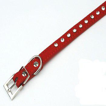 Dog Puppy Cat Pet Adjustable Collars Diamante Rhinestone Bling PU Leather Band - RED