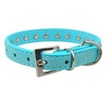 Dog Puppy Cat Pet Adjustable Collars Diamante Rhinestone Bling PU Leather Band - CELESTE
