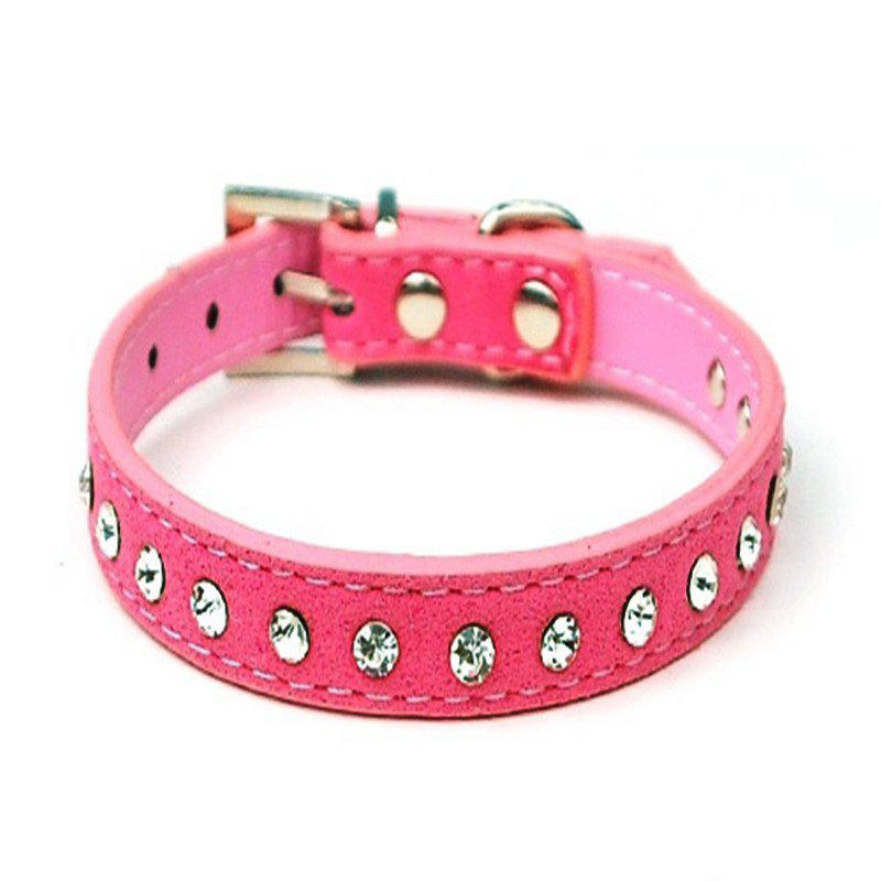 Dog Puppy Cat Pet Adjustable Collars Diamante Rhinestone Bling PU Leather Band - CARNATION PINK