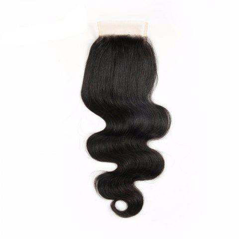 Brazilian Virgin Human Hair Natural Black Body Wave Swiss Lace Closure - NATURAL BLACK 18INCH