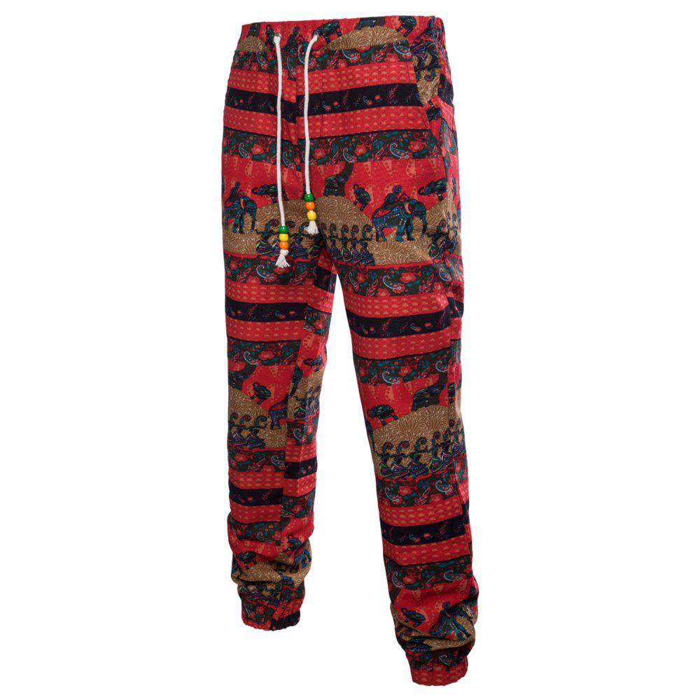 Men's Spring and Summer Thin Sizes of Folk Wind Linen Print Trousers лосьон лосьон mac l s fix 100ml