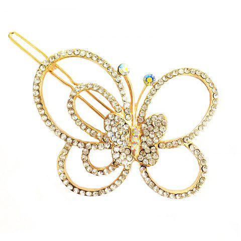 New Fashion Korean Headdress Simple and Elegant Diamond Butterfly Hair Clip - GOLD
