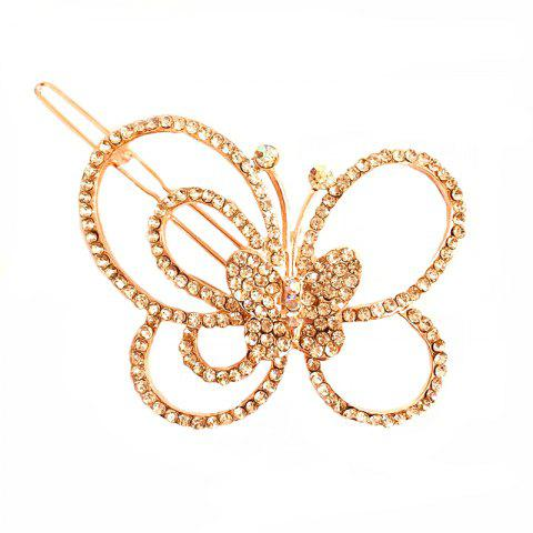 New Fashion Korean Headdress Simple and Elegant Diamond Butterfly Hair Clip - DEEP PEACH