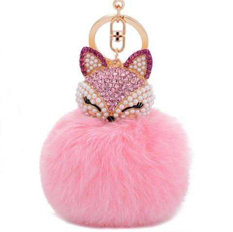 Real Rabbit Fur Ball with Artificial Fox Head Inlay Pearl Rhinestone Key Chain - PINK