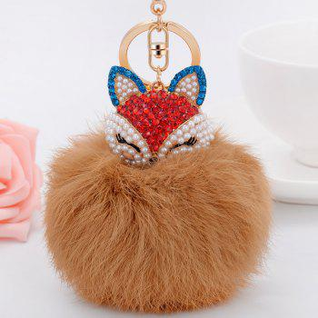 Real Rabbit Fur Ball with Artificial Fox Head Inlay Pearl Rhinestone Key Chain - CAMEL BROWN