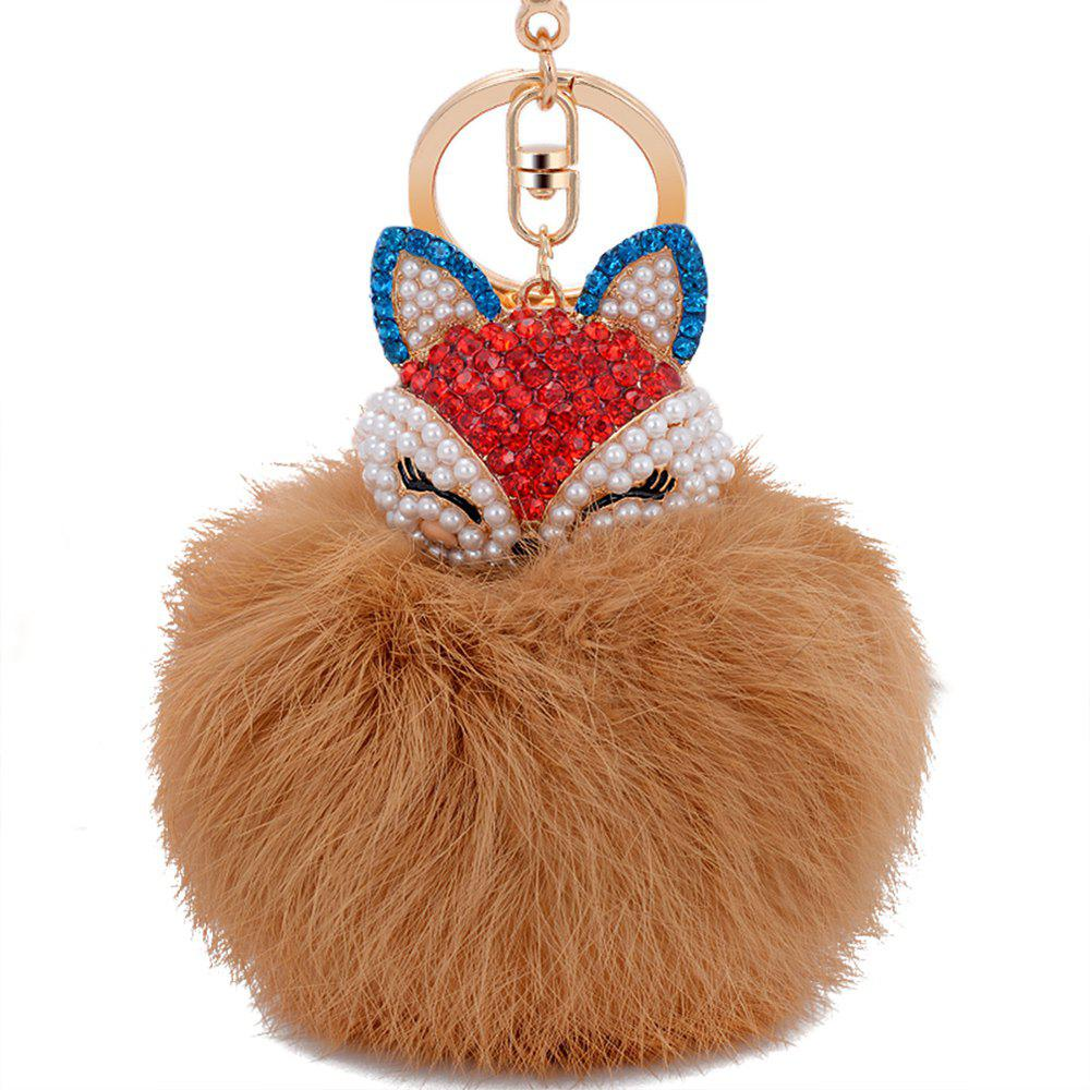Real Rabbit Fur Ball with Artificial Fox Head Inlay Pearl Rhinestone Key Chain warm and soft artificial rabbit fur ball elastic hair bands ball of fur hair rope band hair accessory rubber band