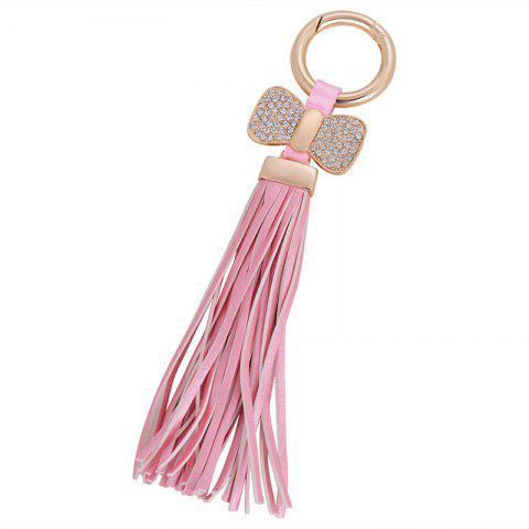 Creative Key Bow Leather Tassels Keychain Car Bag Pendant for Women - PINK