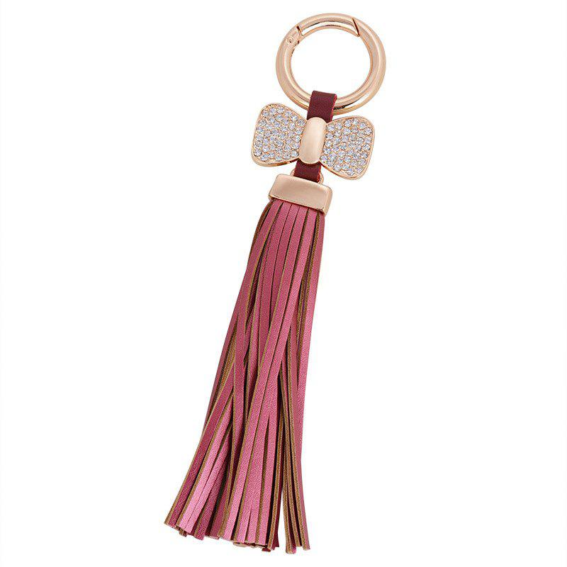 Creative Key Bow Leather Tassels Keychain Car Bag Pendant for Women - ROSE RED