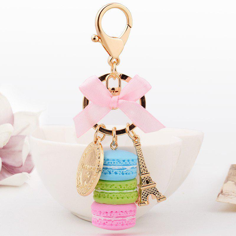 Macaron Cake Eiffel Tower Keychain Bowknot Car Keyring Bag Purse Pendant - BUTTERFLY BLUE