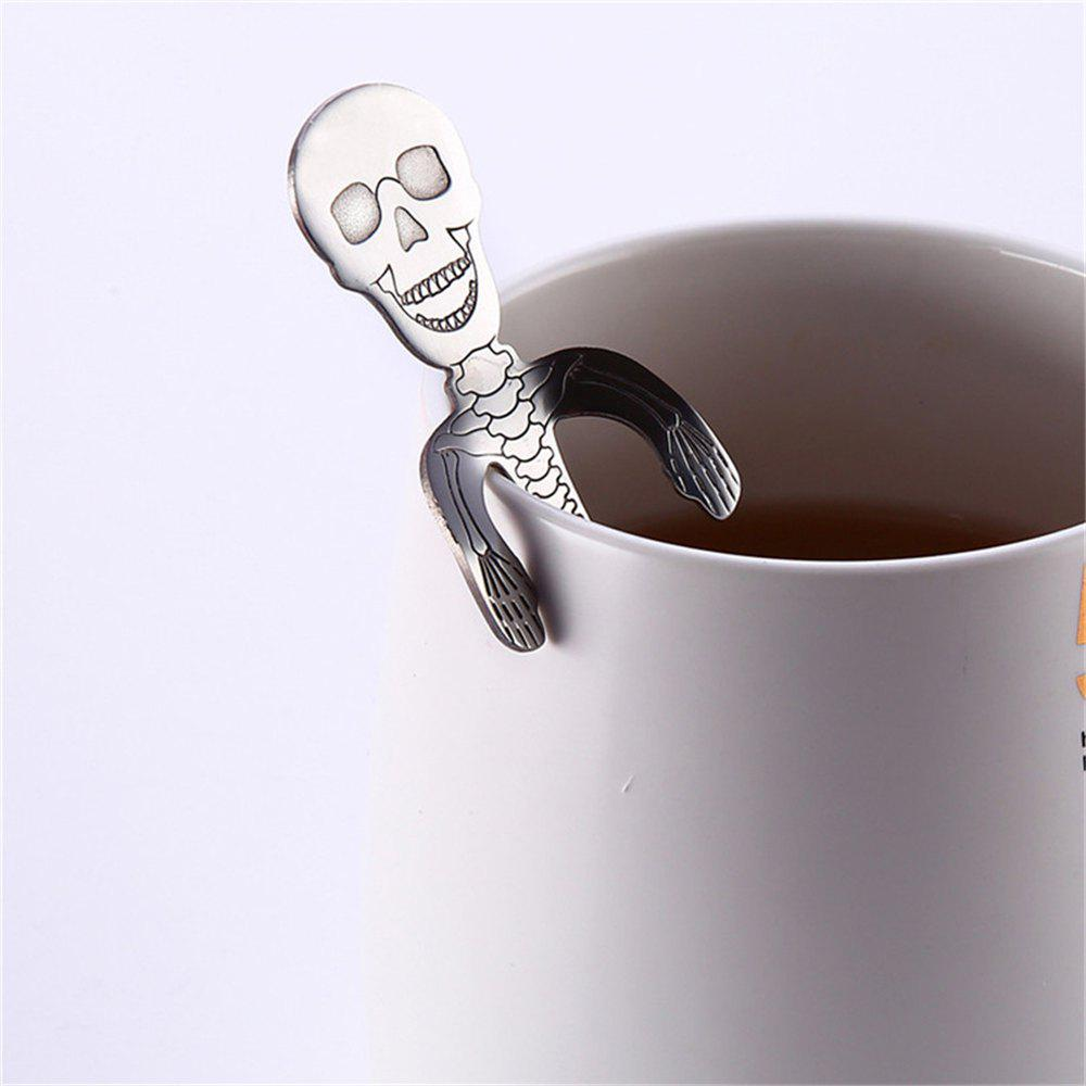 High Quality Creative Stainless Steel Skull Coffee Spoon - SILVER