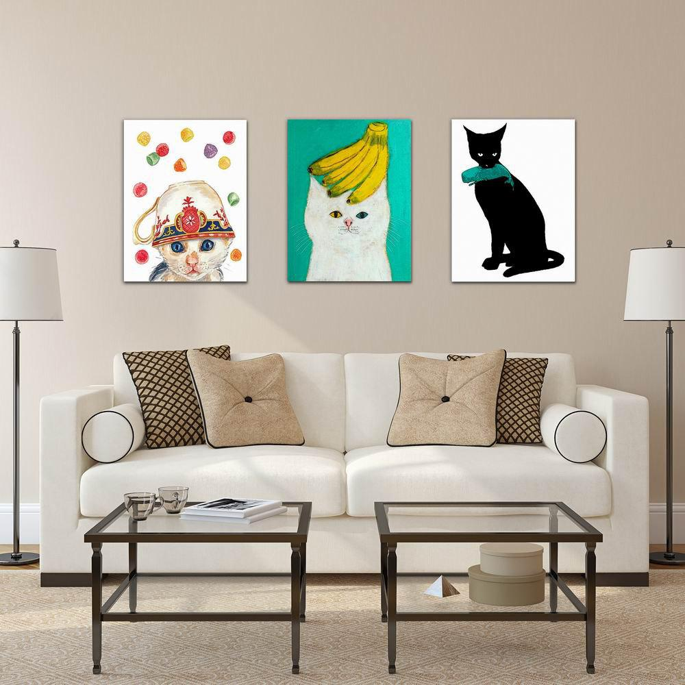 W229 Cute Cats Unframed Art Wall Canvas Prints for Home Decorations 3 PCS family wall quote removable wall stickers home decal art mural