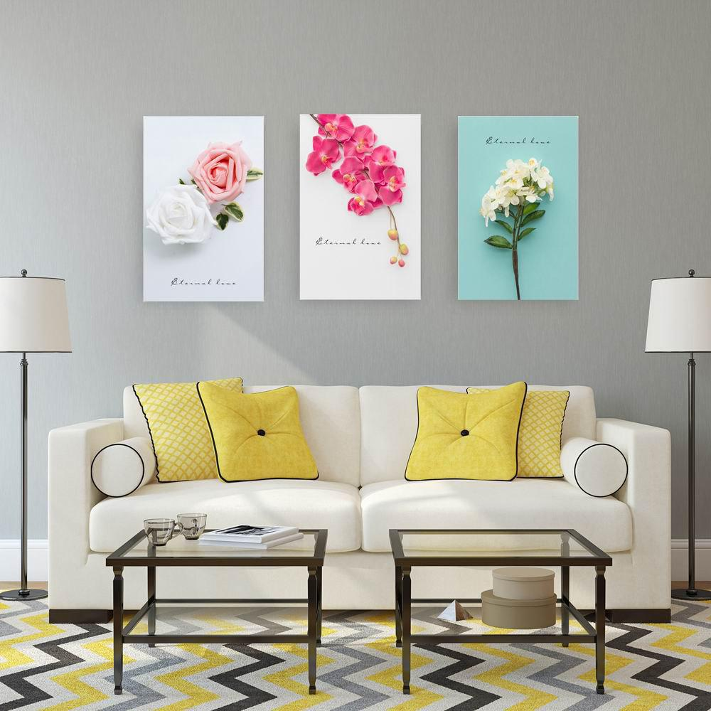W231 Sweet Flower Frameless Art Wall Canvas Prints for Home Decorations 3 PCS family wall quote removable wall stickers home decal art mural