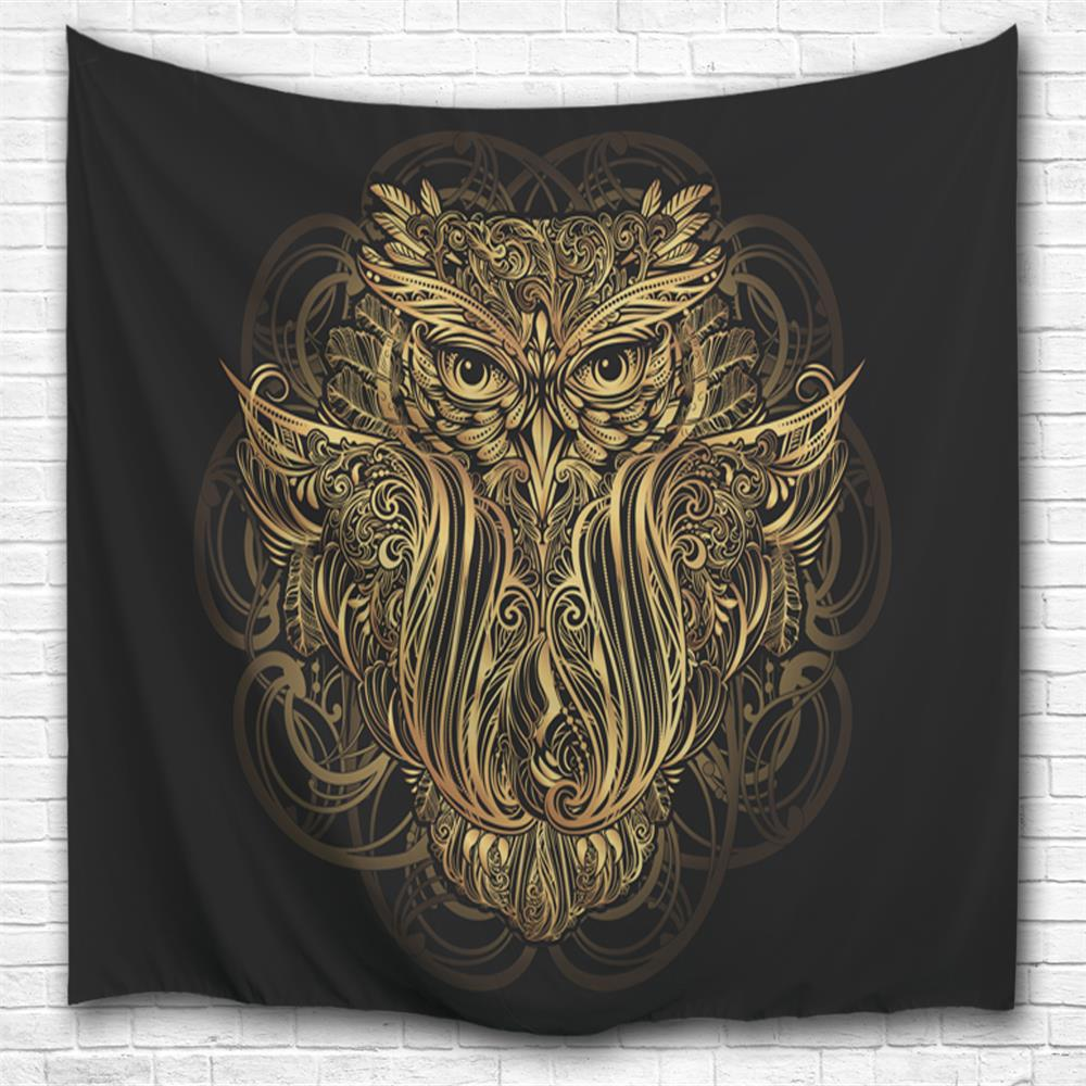 Golden Owl 3D Printing Home Wall Hanging Tapestry for Decoration space shark 3d printing home wall hanging tapestry for decoration
