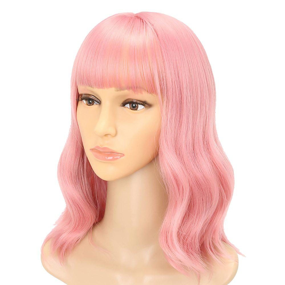 Fluffy Pink Charming Wavy Synthetic Long Hair Party Cosplay Wigs with Bang 2016 high temperature fiber women long brown curly wavy full wigs party synthetic hair cosplay wig
