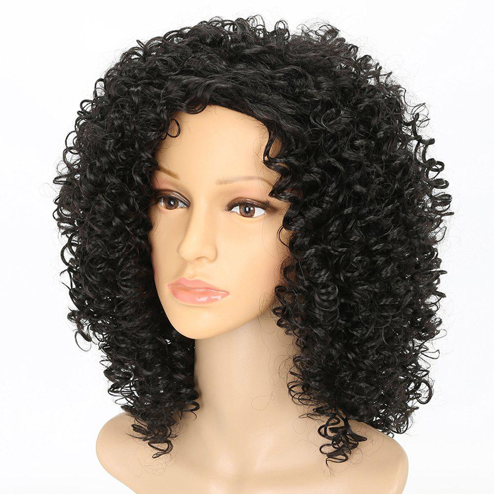 Side Bang Kinky Curly Synthetic Long Black Hair Dancing Party Wigs for Girls cheap kinky curly wigs for black women synthetic hair synthetic lace front wig with baby hair synthetic lace front wigs