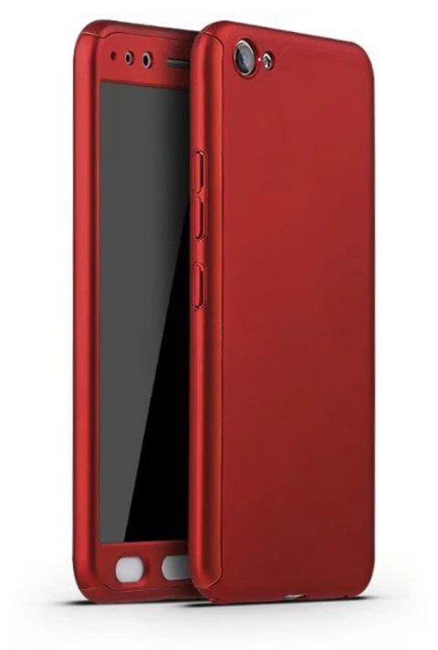 Full PC Back Cover Funda Complete All Around with Tempered Glass Case for Vivo X9 Plus - RED