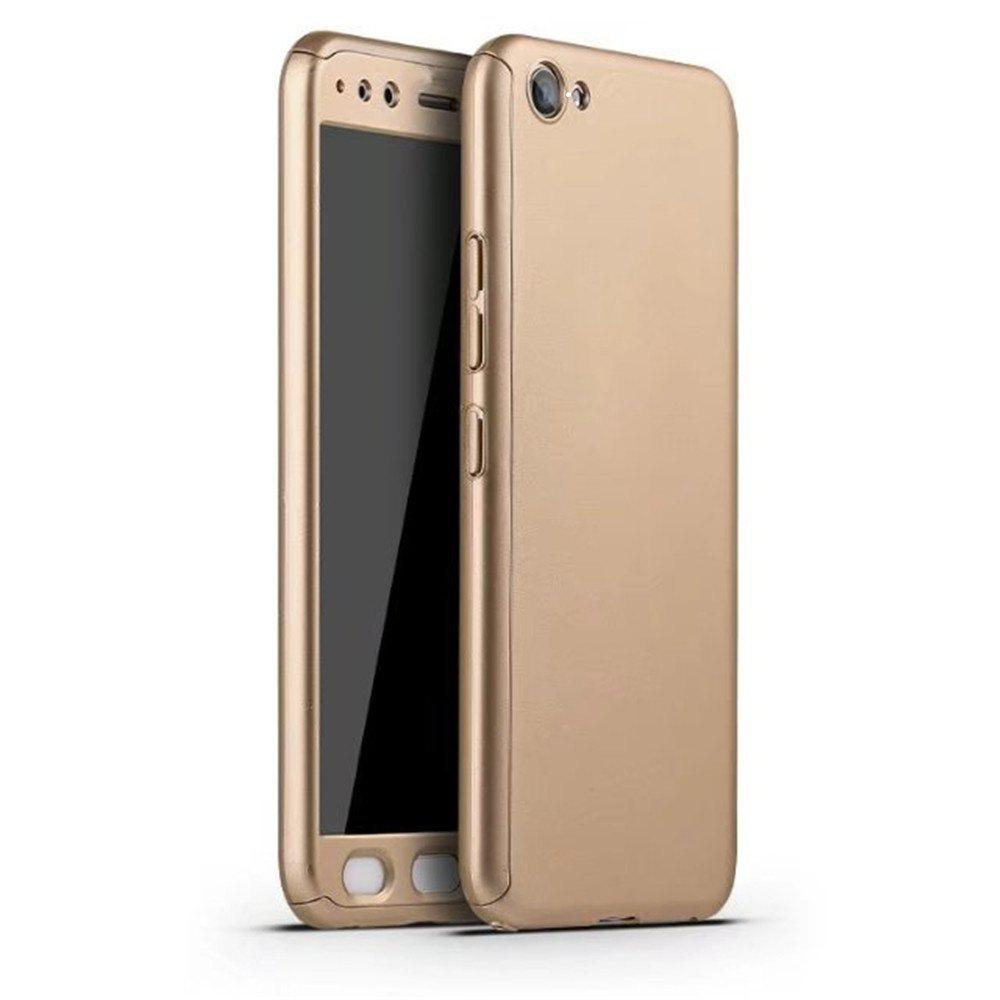 Full PC Back Cover Funda Complete All Around with Tempered Glass Case for Vivo X9 Plus - GOLD