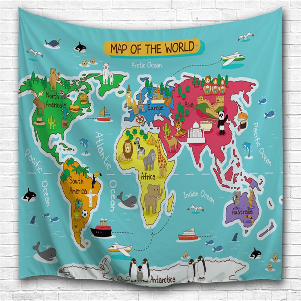2018 cartoon world map 3d printing home wall hanging tapestry for cartoon world map 3d printing home wall hanging tapestry for decoration multicolor a w229cmxl153cm gumiabroncs Images