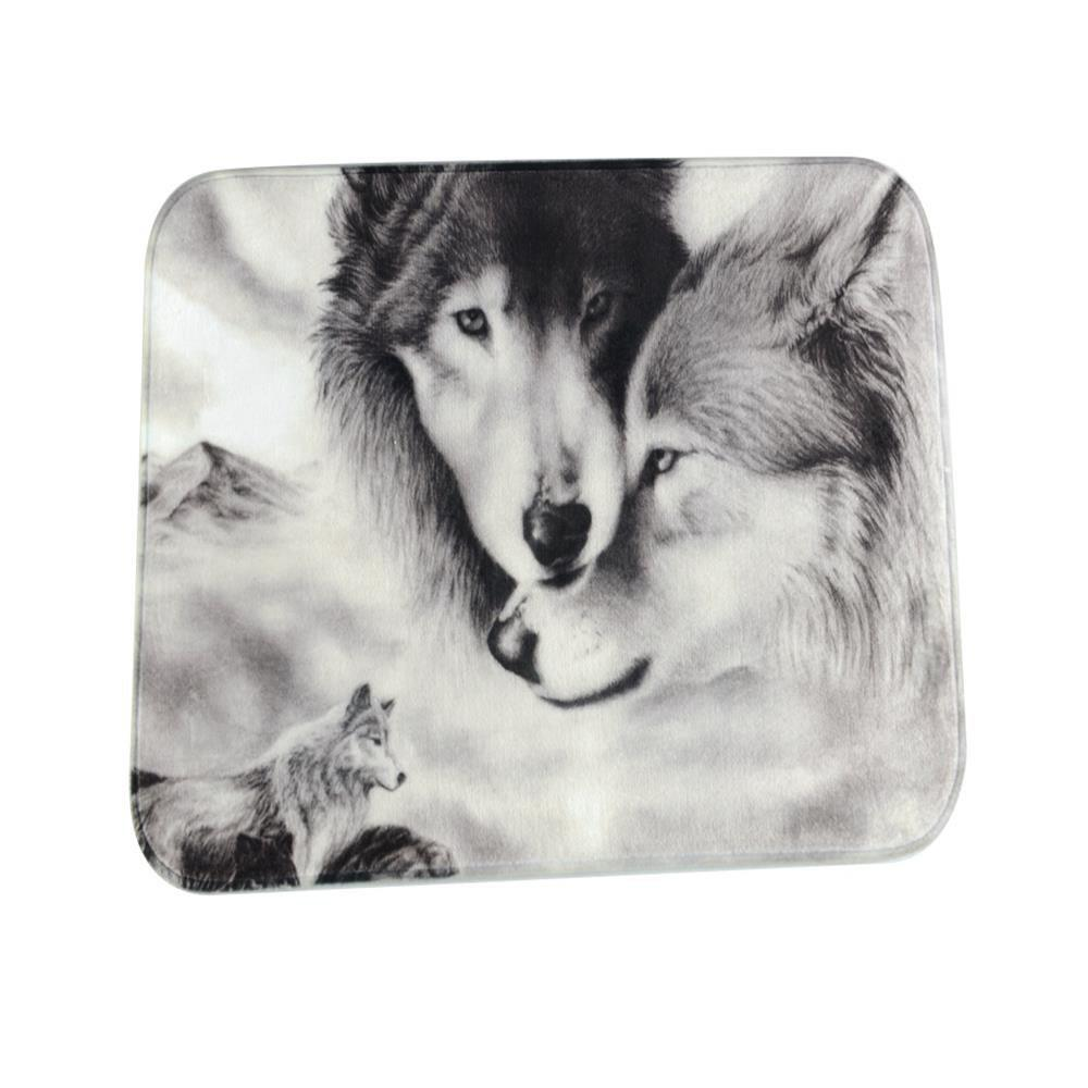 Couple Wolves Super Soft Non-Slip Bath Door Mat Machine Washable Quickly Drying pink girl super soft non slip bath door mat machine washable quickly drying