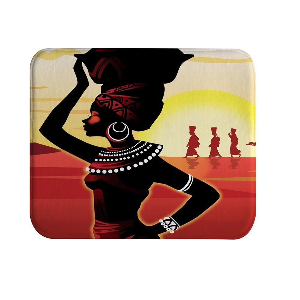 African Girl B Super Soft Non-Slip Bath Door Mat Machine Washable Quickly Drying pink girl super soft non slip bath door mat machine washable quickly drying
