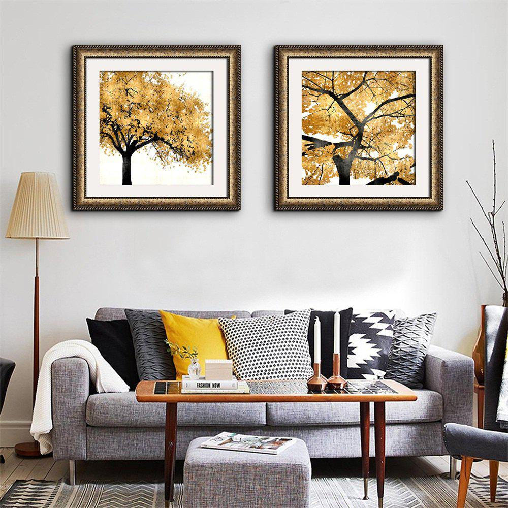 2018 Special Design Frame Paintings Trees in Autumn Print 2PCS ...